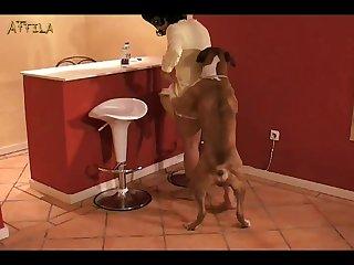 Masked Girl Plays With Dog (furry xxx )