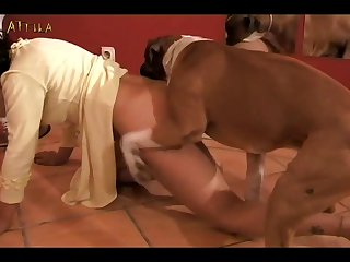 Masked Girl Plays With Dog (furry xxx )