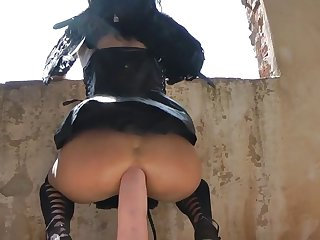 Black Angel And Horse Cock In The Castle XXX