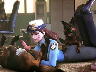 Officer D.va K9 Training[dog Wolf]3D Bestiality